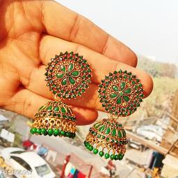 Party wear designer big Jhumka dark green color jhumka earrings for women