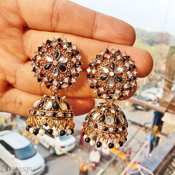 Party wear designer big Jhumka black and white mix color jhumka earrings for women