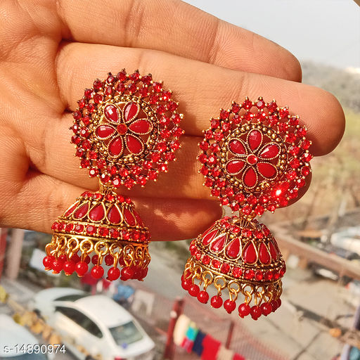 Party wear designer big Jhumka red color jhumka earrings for women
