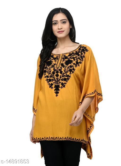 SAAKAA Women's Rayon Mustard Kaftan Top