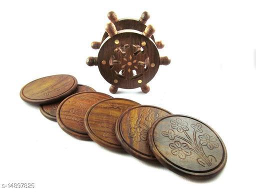 SunLight Crafts Wooden Coaster Set Designed in Ship Wheel (Brown, 4 inch)