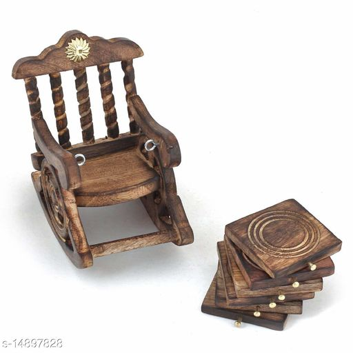 SunLight Crafts Handmade Wooden Antique Beautiful Miniature Rocking Chair Design Tea Coffee Coaster Set