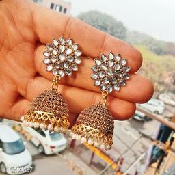 Party wear designer golden oxidised white jhumka earrings for women