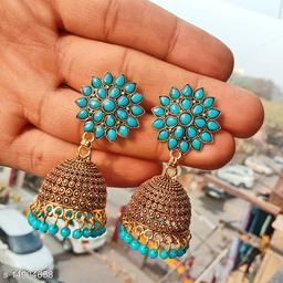 Party wear designer golden oxidised light blue jhumka earrings for women