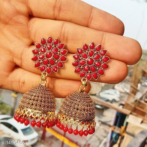 Party wear designer golden oxidised red jhumka earrings for women