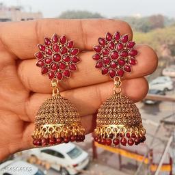 Party wear designer golden oxidised brown jhumka earrings for women