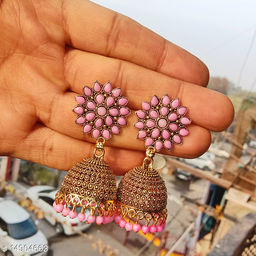 Party wear designer golden oxidised pink jhumka earrings for women