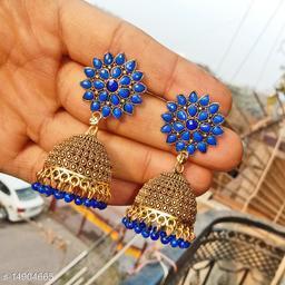 Party wear designer golden oxidised navy blue jhumka earrings for women