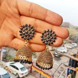Party wear designer golden oxidised black jhumka earrings for women