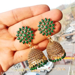 Party wear designer golden oxidised green jhumka earrings for women