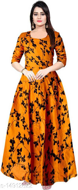 Women Rayon Anarkali Printed Mustard Kurti