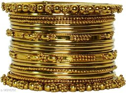 JSD Gold Plated Tradirtional Fancy Bangle Set Perfect for Festival & wedding Ceremony