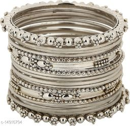 JSD Silver Plated Tradirtional Fancy Bangle Set Perfect for Festival & wedding Ceremony