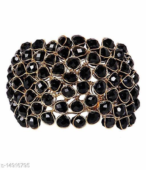 JSD  Crystal Black Bracelet for Girls and Women_Adjustable