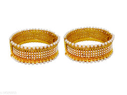 JSD Gold Plated Traditional Stylish White Moti Bangle For Girl & women
