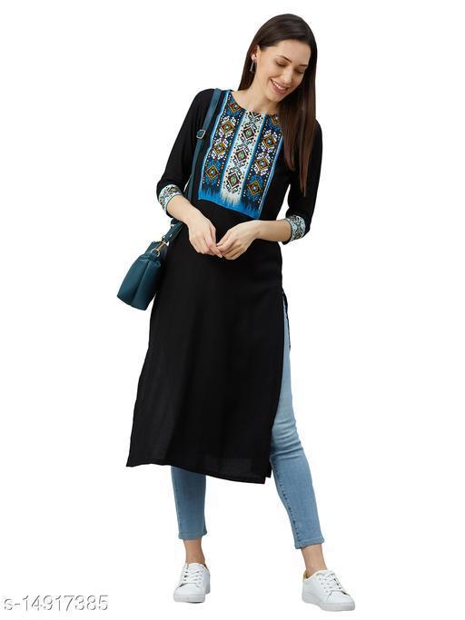 Rayon Straight Stitched Kurta For Women