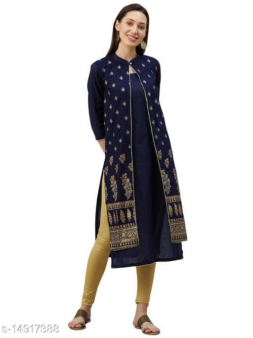 Women Cotton Gold Printed Jacket Kurta