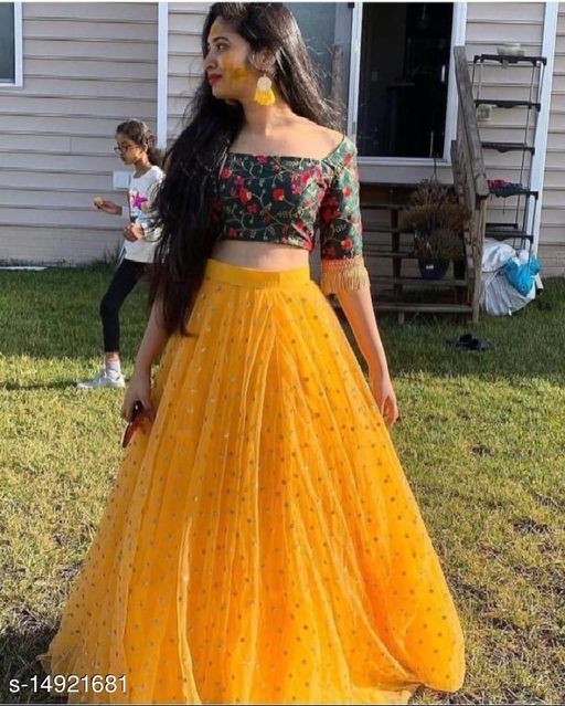 Krimaa Embroidered Semi Stitched Lehenga with crop Top