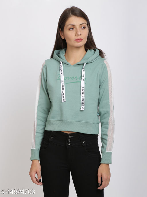 Beverly Blues Womens Hooded Crop And Zip Closure Sweat Shirt