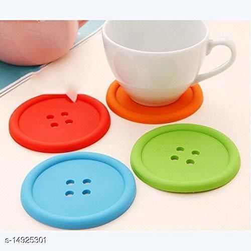 Coaster-Silicone Button Shaped Placemat Heat Resistant Coaster( set of 10)
