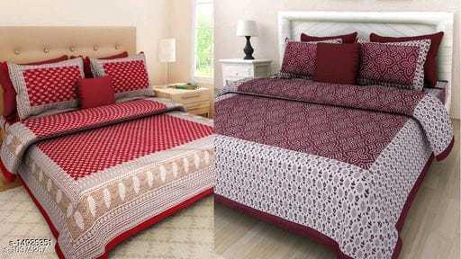 Jaipuri Printed Double Bed sheet pack of 2