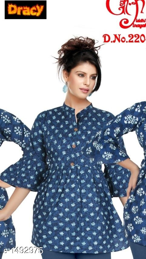 Kurtis & Kurtas Voguish Cotton Printed Short Kurti  *Fabric* Cotton  *Sleeves* Sleeves Are Included  *Size* L - 40 in, XL - 44 in  *Length* Up To 32 in  *Type* Stitched  *Description* It Has 1 Piece Of Women's Short Kurti  *Work* Printed  *Sizes Available* L, XL   Supplier Rating: ★4.1 (463) SKU: VCWK-7 Shipping charges: Rs1 (Non-refundable) Pkt. Weight Range: 300  Catalog Name: Eva Voguish Cotton Printed Short Kurtis Vol 1 - Dracy Code: 363-1492975--954