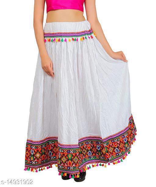 DIAMO Traditional Heavy Border Lace work ethnic women long skirt