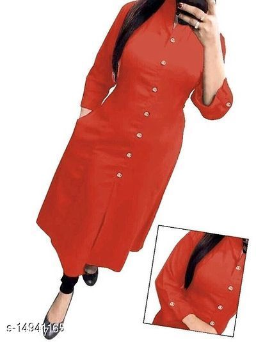 Women Cotton Slub Straight Solid Orange Kurti