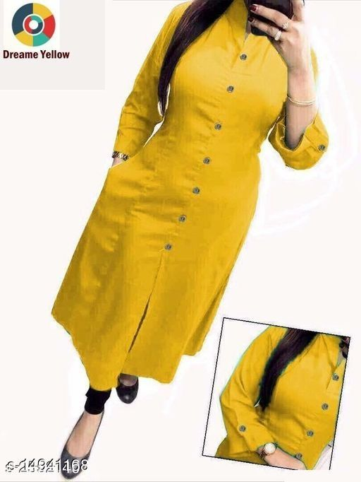 Women Cotton Slub Straight Solid Mustard Kurti