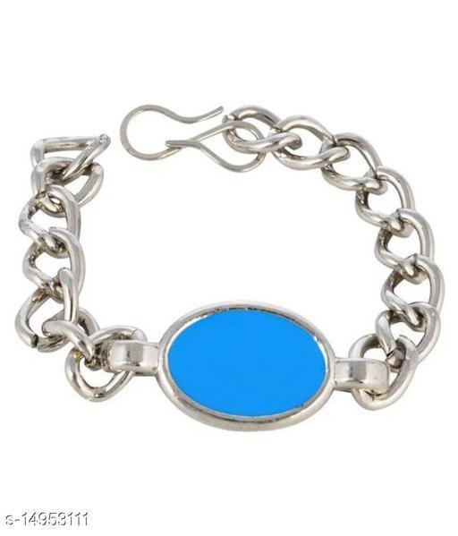 Combo Pack of 2 Salman Khan  Turquoise Bracelet for Men Silver Chain Bracelet Men's Jewelry for Gifting