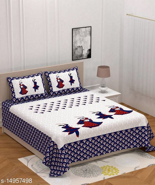 Jaipuri Print Cotton Double Bedsheet with 2 Pillow Covers