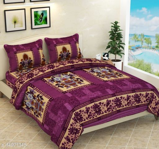 Luxury Warm Polar Double Bed Bedsheet With Two Pillow Covers