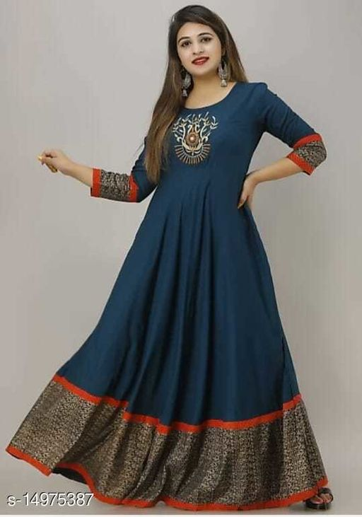 RAYON BEAUTIFUL EMBORIDERY BLUE GWON IN RED  BOTTOM JAL BORDAR STYLE
