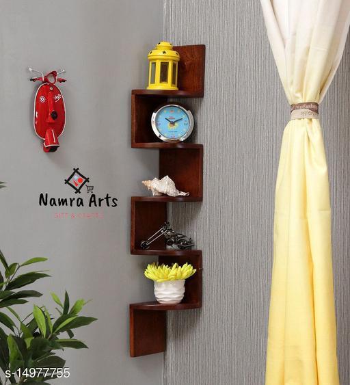 Namra Arts Zig Zag Shape Corner Wall Mount Shelf Unit/Book Shelf/Wall Decoration