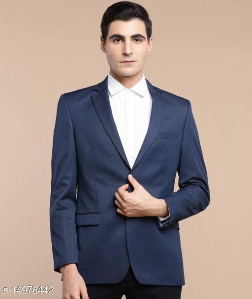 solid single breasted formal blazer