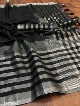 Cotton Linen Saree Border Zari Work