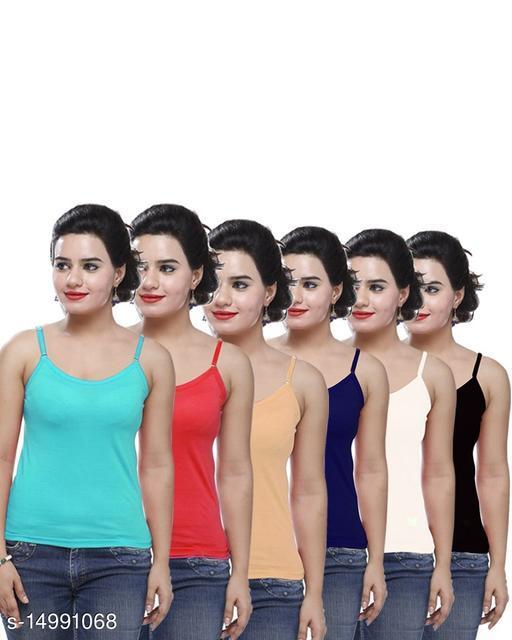 Women Pack of 6 Multicolor Cotton Blend Camisoles