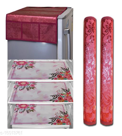 Groki PVC Combo Fridge Top Cover and 2 Handle Cover with 3 Fridge Mats (Red, 6 Piece set)