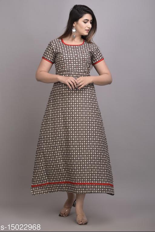 Qalamkari Womens Hand Work Printed Cotton A-line Kurti