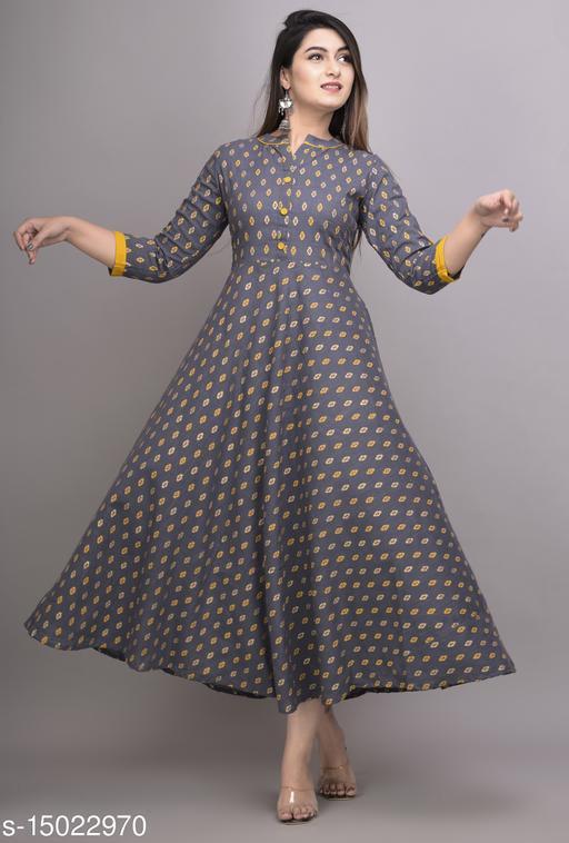 Qalamkari Womens Gold Printed Cotton Slub Flared Long Kurti