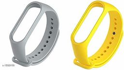 Microbirdss Grey And Yellow Combo Silicone M3 and M4 Band Strap for Xiaomi Mi Band 3 & Mi Band 4 Smart Band Strap
