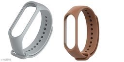 Microbirdss GreyAnd Brown Combo Silicone M3 and M4 Band Strap for Xiaomi Mi Band 3 & Mi Band 4 Smart Band Strap