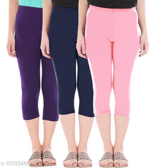 Buy That Trendz Combo Pack of 3 Skinny Fit 3/4 Capris Leggings for Women  Purple Navy Baby Pink