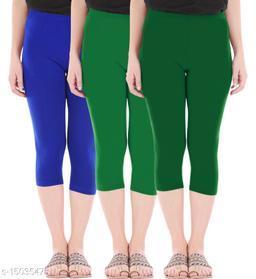 Buy That Trendz Combo Pack of 3 Skinny Fit 3/4 Capris Leggings for Women  Royal Blue Jade Green Bottle Green