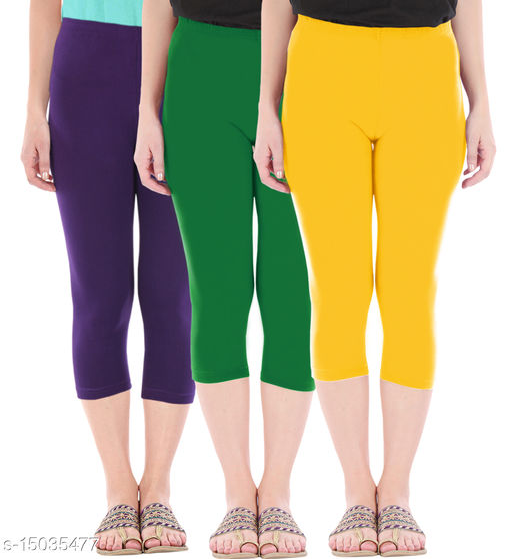 Buy That Trendz Combo Pack of 3 Skinny Fit 3/4 Capris Leggings for Women  Purple Jade Green Golden Yellow