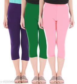Buy That Trendz Combo Pack of 3 Skinny Fit 3/4 Capris Leggings for Women  Purple Jade Green Baby Pink