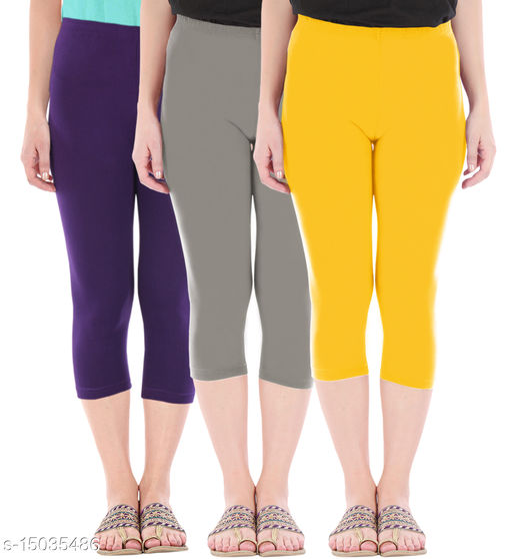 Buy That Trendz Combo Pack of 3 Skinny Fit 3/4 Capris Leggings for Women  Purple Ash Golden Yellow