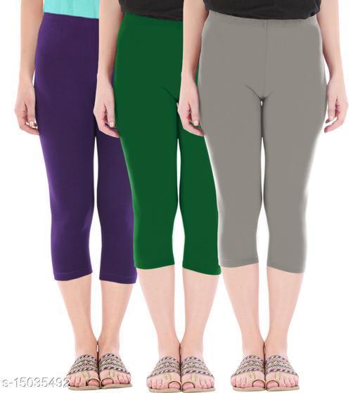 Buy That Trendz Combo Pack of 3 Skinny Fit 3/4 Capris Leggings for Women  Purple Bottle Green Ash