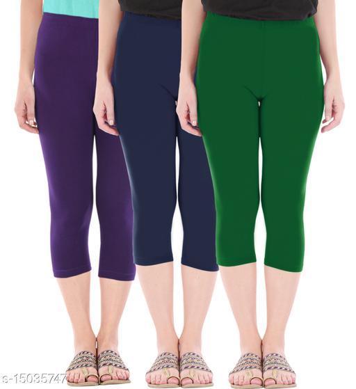 Buy That Trendz Combo Pack of 3 Skinny Fit 3/4 Capris Leggings for Women  Purple Navy Bottle Green