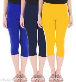 Buy That Trendz Combo Pack of 3 Skinny Fit 3/4 Capris Leggings for Women  Royal Blue Navy Golden Yellow